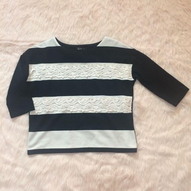 Lace Stripes Top