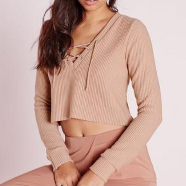 Lace Up Ribbed Sweatshirt