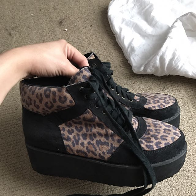 Leopard And black Platform Creepers
