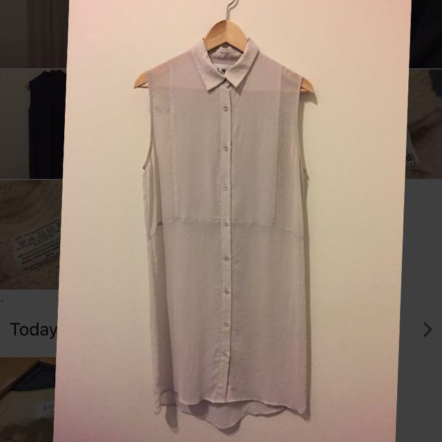 Life With Bird White Shirt Dress Size 1