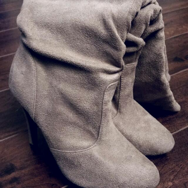 REDUCED! From $15 To $10 - Light Brown Suede Boots