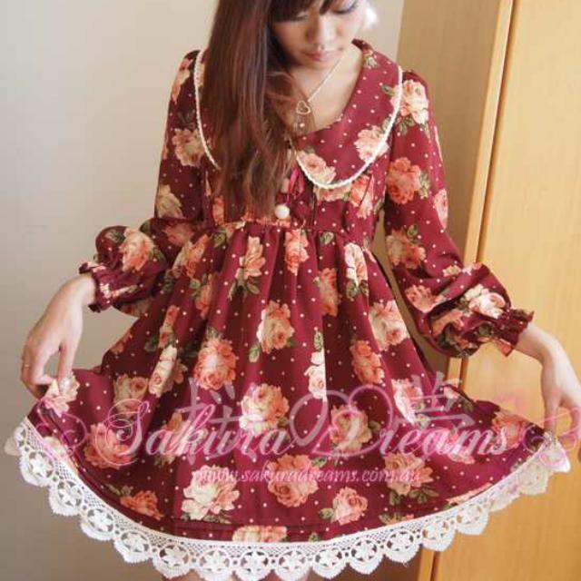 Liz Lisa同款水玉玫瑰洋裝/ANK ROUGE/日系軟妹/夢展望/BOBON21
