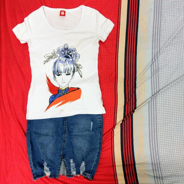 LUSHANG HAI中國風T恤+牛仔裙