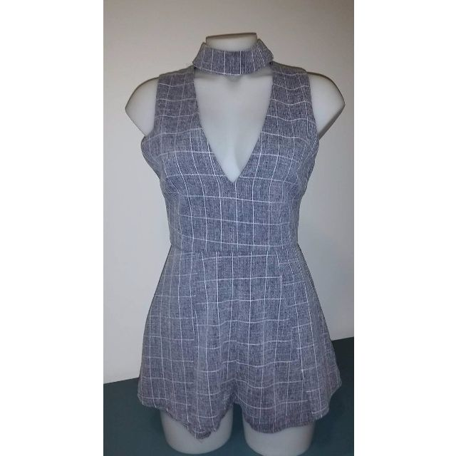 Luvalot- Grey Checked Jumpsuit