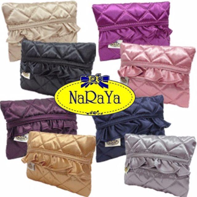 NaRaYa BLACK Laced Satin Tissue Pouch
