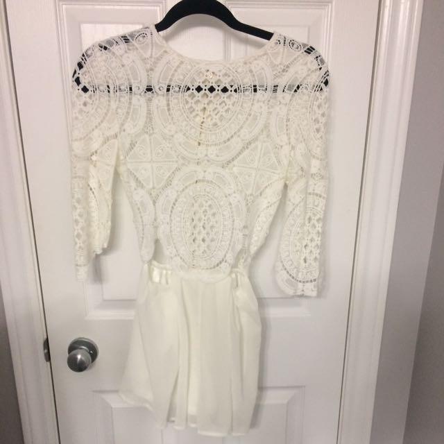 New White Crochet Romper