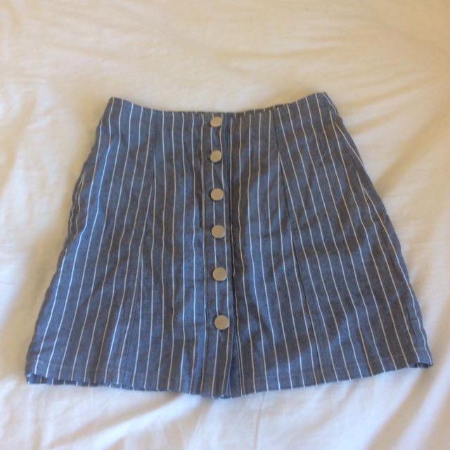 Pinstriped Button Up Skirt