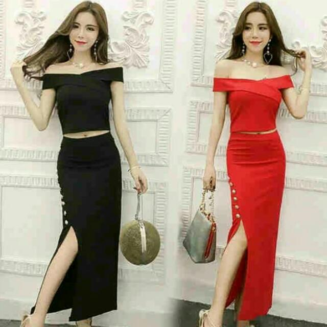Premium Quality Dress (1305) Red, Black