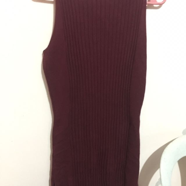 Ribbed Maroon Dress