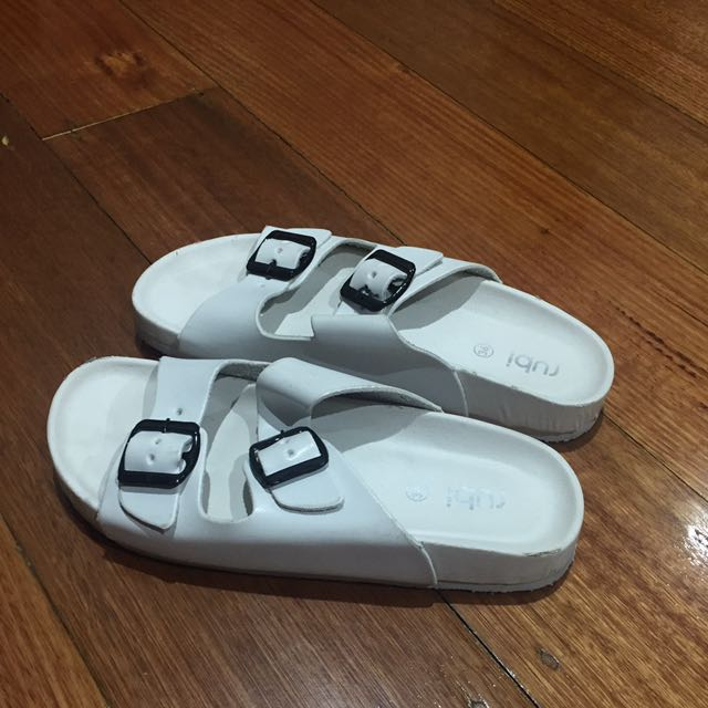 Rubi White Buckle Sandals Size 6