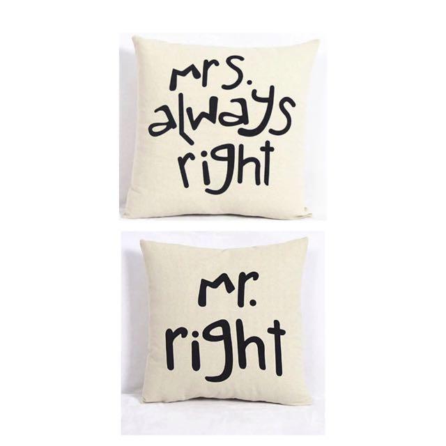 Sarung Bantal Kursi Mr And Mrs. Right