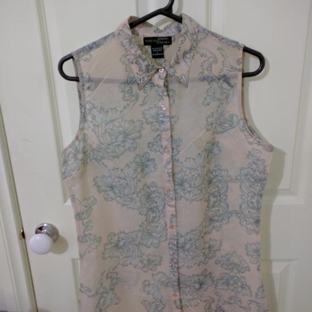 Sheer Button Down Sleeveless Blouse/Shirt