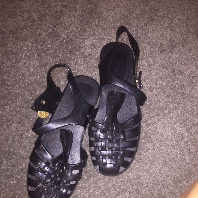 Size 4 (37) Woman Black Jelly Sandals