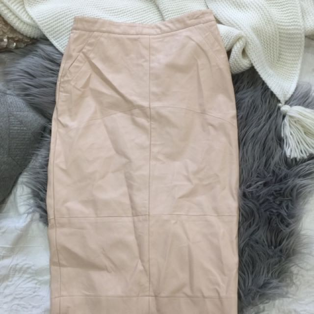 Sportsgirl Nude High Rise Midi Leather Skirt