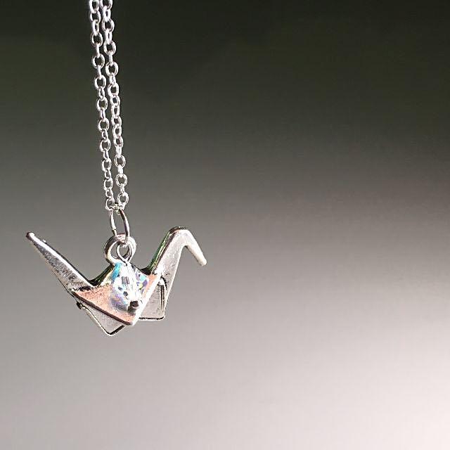 Tsuruko japanese origami paper crane pendant with a swarovski photo photo photo photo photo mozeypictures Images