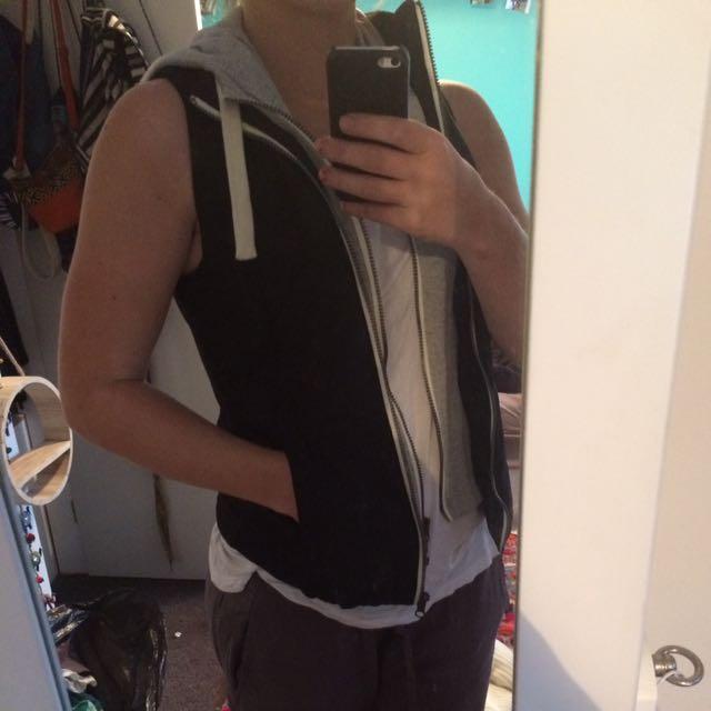 Vest With Grey Hood