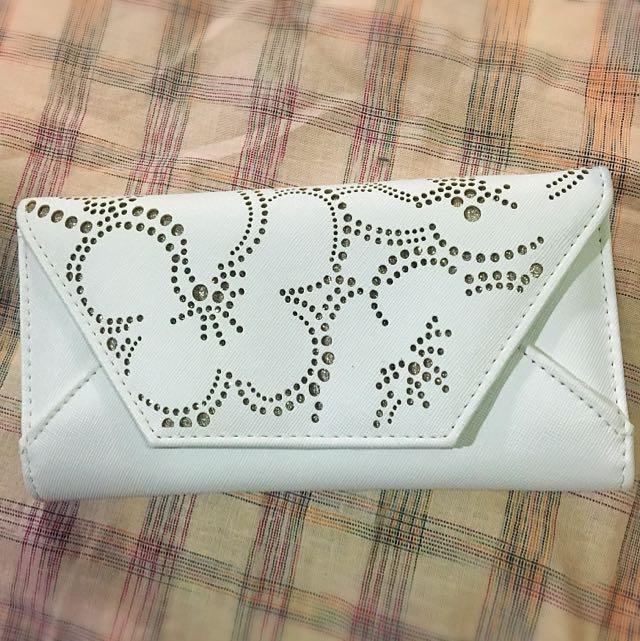 White Flowered Wallet