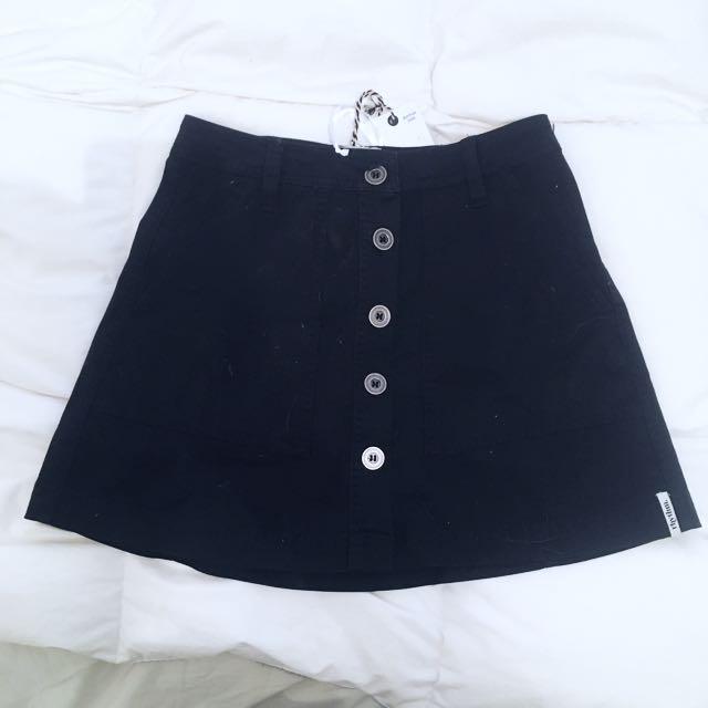 Women's Button Up Denim Skirt Beginning Boutique