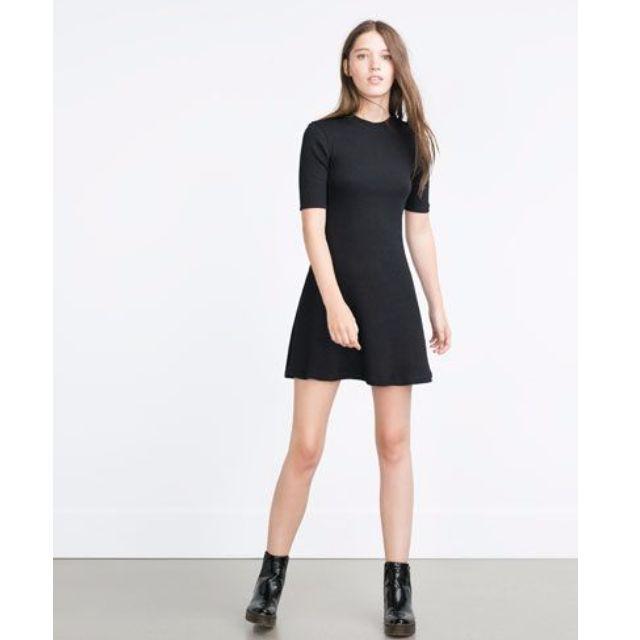 ZARA A Line Flared Black Dress