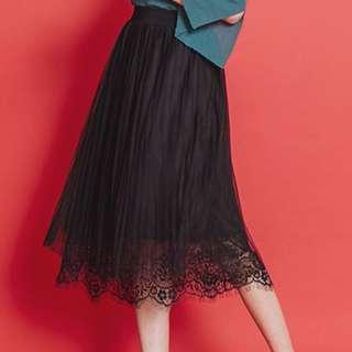 Lace&百褶 紗紗裙#運費我來出