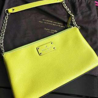 Kate Spade Leather Lime Yellow Shoulder Bag