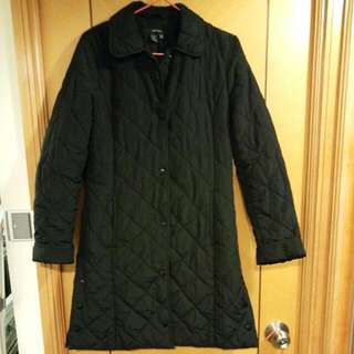 Zara Black basic Quilted Coat 黑夾棉褸長青款Size S