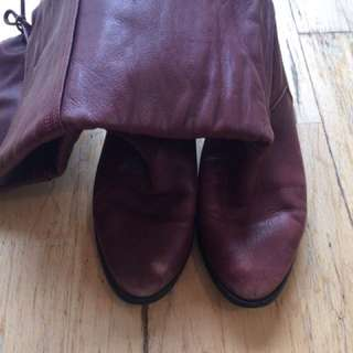 Burgundy Leather Knee Boots - Size 38