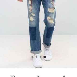 asos牛仔經典破褲