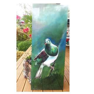 New Zealand KERERU BIRD  (native Wood Pigeon), OUTDOOR Wall ART Panel from my original silk painting.