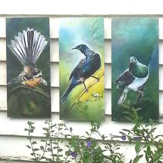 SPECIAL Price for 3 Birds, New Zealand TUI, FANTAIL, KERERU, OUTDOOR Wall ART Panels