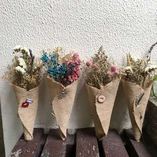 Dried Flower Bouquet - Lavender Caspia Wheat Baby Breath wrapped in Burlap - Home Deco / Birthday Gifts / Farewell Flowers