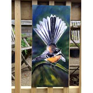 New Zealand FANTAIL Bird, OUTDOOR Wall ART Panel from my original silk painting, Outside art, Garden Art, New Zealand native bird, Handmade LARGE SIZE 68cm x 30cm,