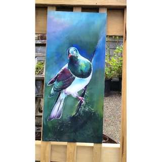 New Zealand KERERU Bird (native Wood Pigeon), OUTDOOR Wall ART Panel from original silk painting, Garden Art, New Zealand native, LARGE SIZE 68cm x 30cm