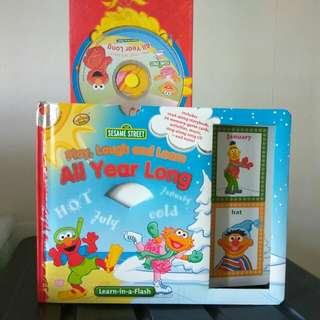 Sesame Street Thick Hard Cover Book +Flash Cards CD Memory Card