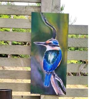 KINGFISHER OUTDOOR ART PANELNew Zealand. from my original silk painting, Outside art, Garden Art, New Zealand native bird, Handmade, 49cm x 22cm,