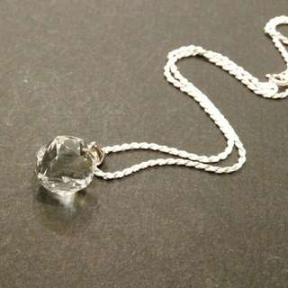 Faceted Natural Crystal Quartz Silver Necklace