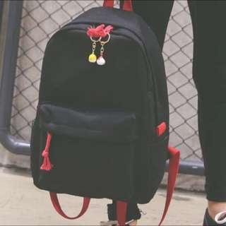 全新 日系神社巫女的紅黑撞雙肩後背包 自留選物