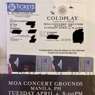 RUSH!!! 1 Silver Coldplay Ticket