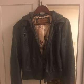 Gray Vegan Leather Jacket With Hood