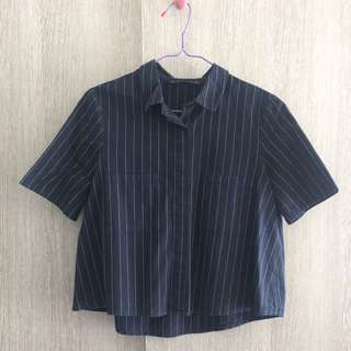 Zara Basic Dark Blue Stripe Pocket Top