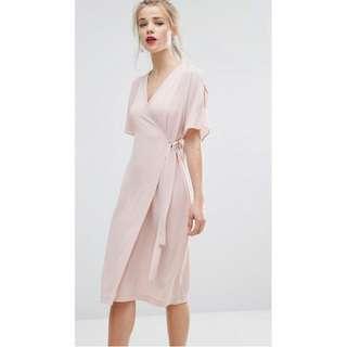 Cold Shoulder Wrap Midi Dress