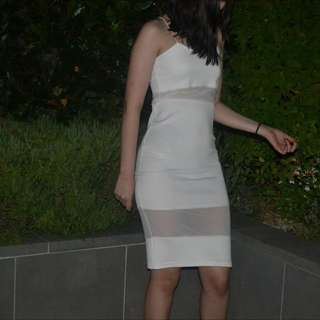 White Sheer Panel Dress