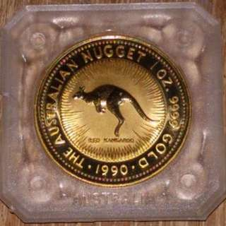 Rare Perth Mint 1990 Gold Nugget coin 1oz
