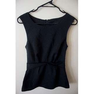 Black Work Top with Waist Detailing