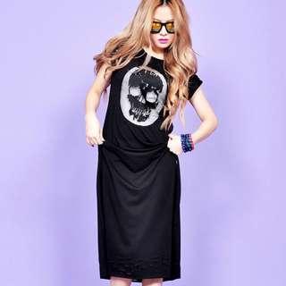 🚚 VII&CO 灰色短袖骷顱網紗長版洋裝