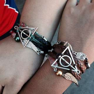3-layers Multi-braided Harry Potter Deathly Hallows, The Golden Snitch, And Hedwig Antique Bronze And Silver With Different Colored Braids