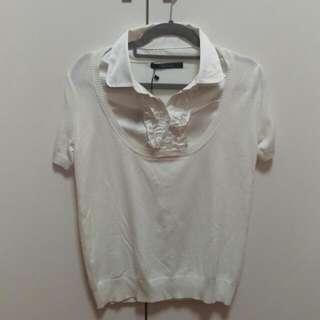 MASTINA 白色假兩件 針織上衣(含運限郵寄)