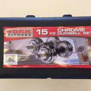 YORK Fitness 15kg Chrome Dumbell Set (BNIB)