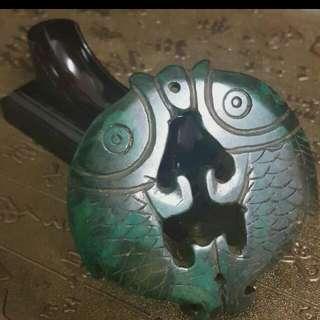 古玩趣~大雙魚綠玉玉佩