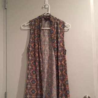 Sleeveless Floral Paisley Print Top Jacket